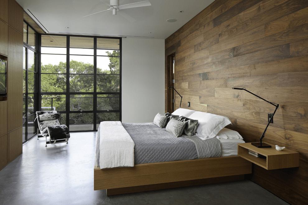 ламинат на стене в спальне виды