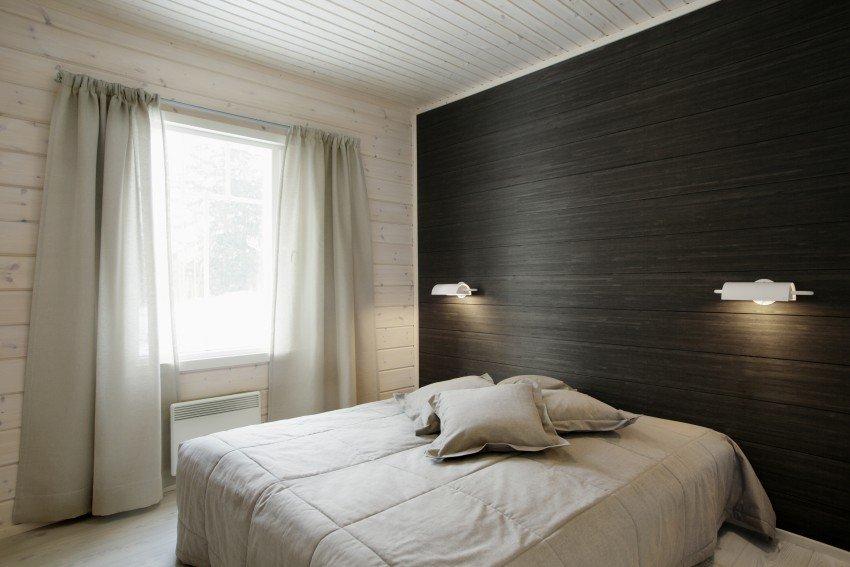 темный ламинат на стене в спальне