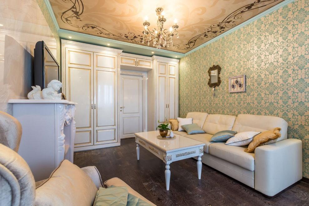 Темный ламинат в гостиной классического стиля