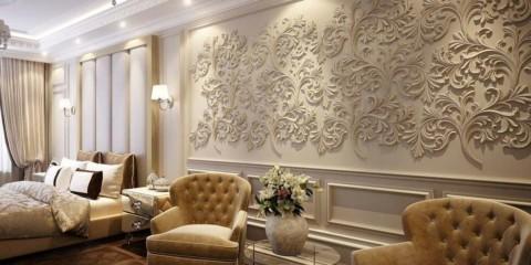 лепнина в дизайне гостиной