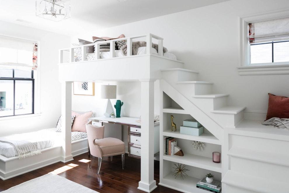Интерьер детской для двоих в белом цвете