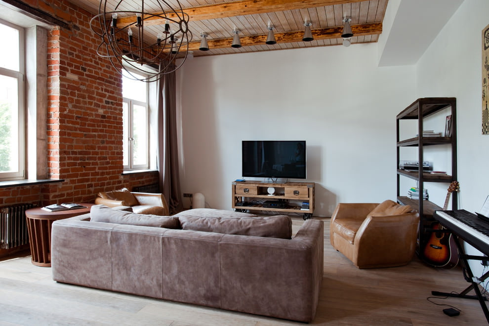 Интерьер гостиной квартиры в стиле лофт