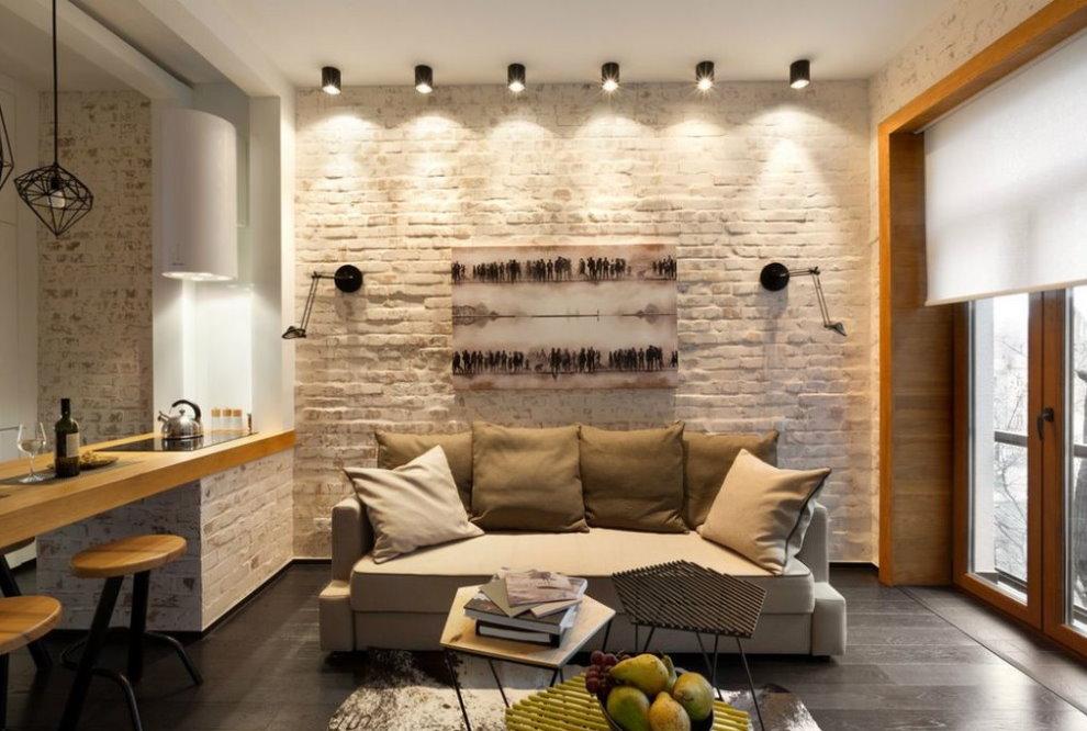 Небольшой диванчик в кухне гостиной стиля лофт