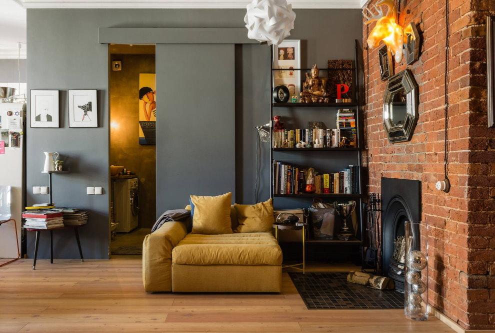 Интерьер квартиры-студии в стиле лофт