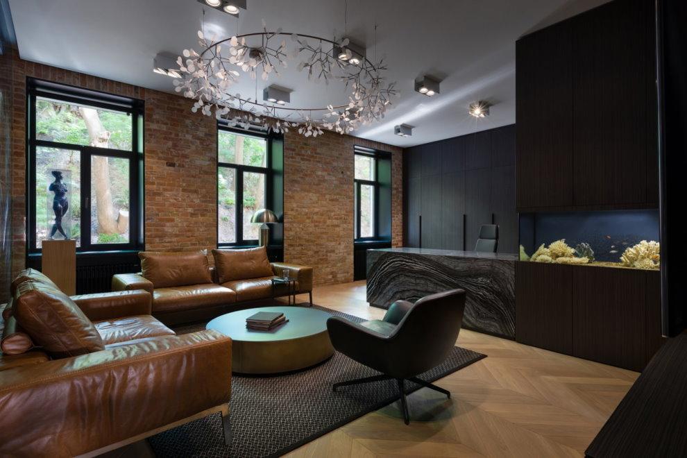 Кухня-гостиная квартиры в стиле лофт