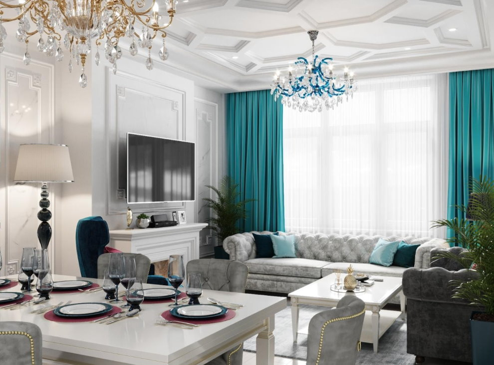 Бирюзовые шторы в гостиной с диваном