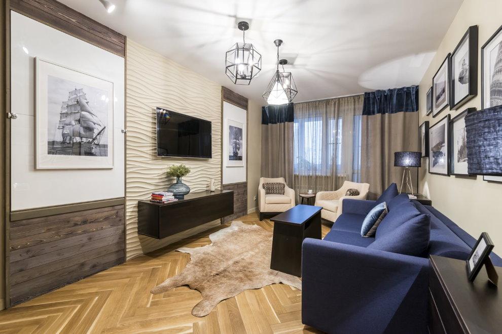 Стильная гостиная с матовым потолком