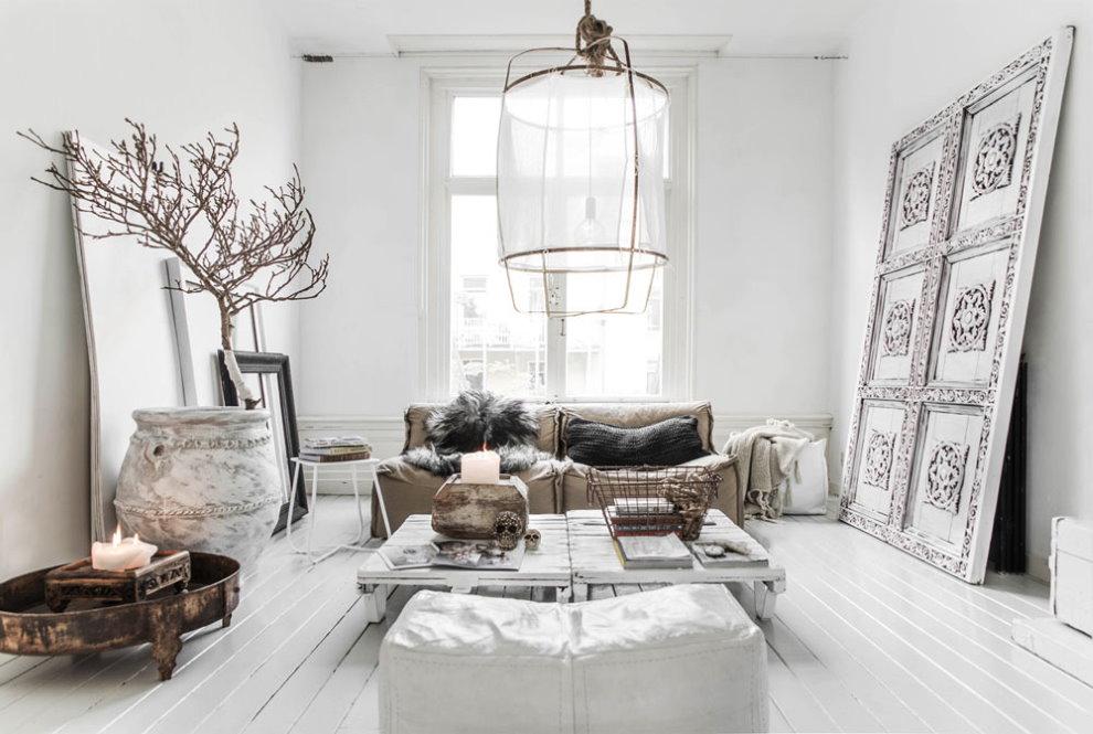 Меблировка гостиной в смешанном стиле интерьера