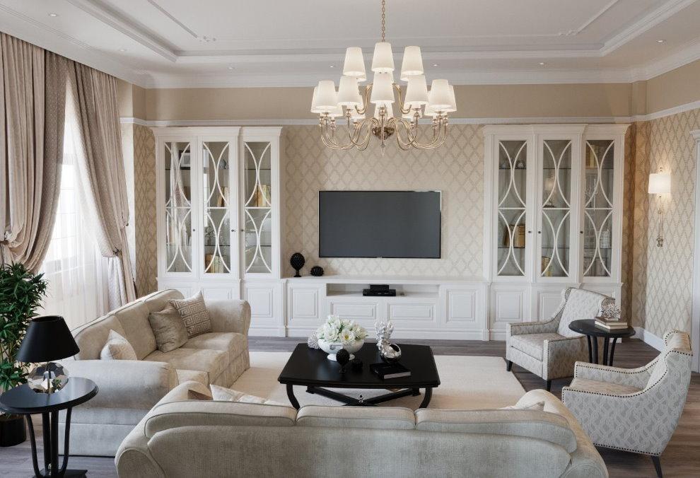 Белая мебель из дорого дерева в гостиной