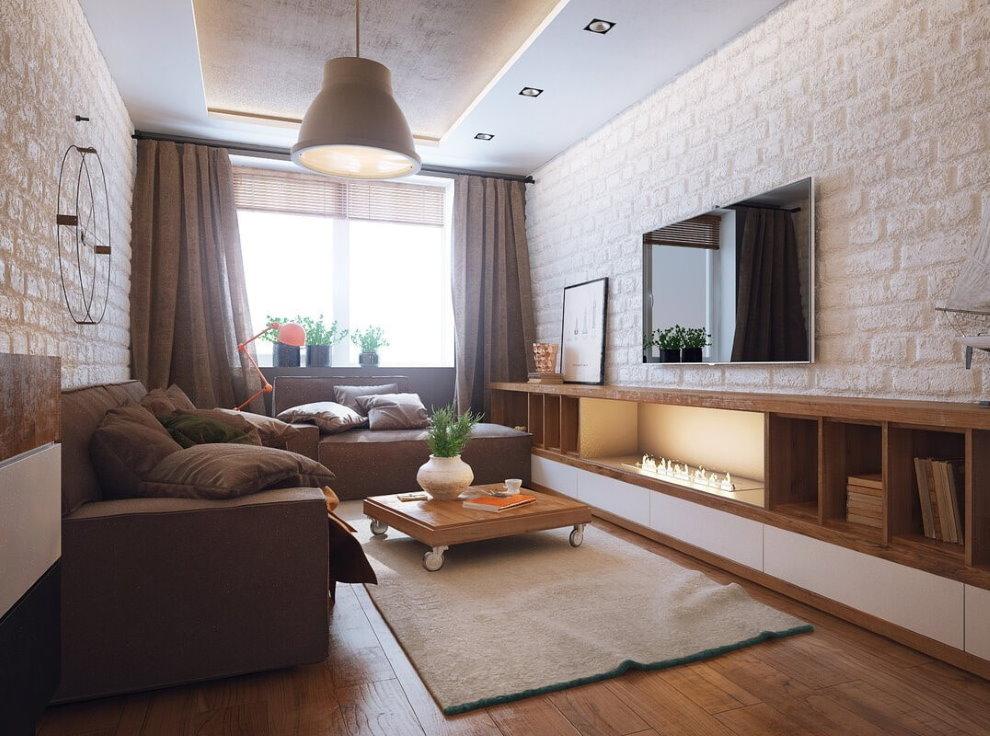 Коричневая мебель в гостиной современного стиля
