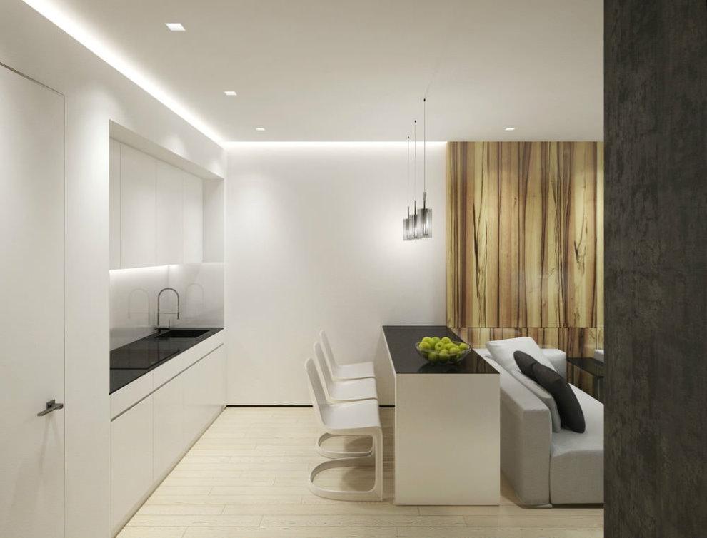 Кухонная зона квартиры в стиле минимализма