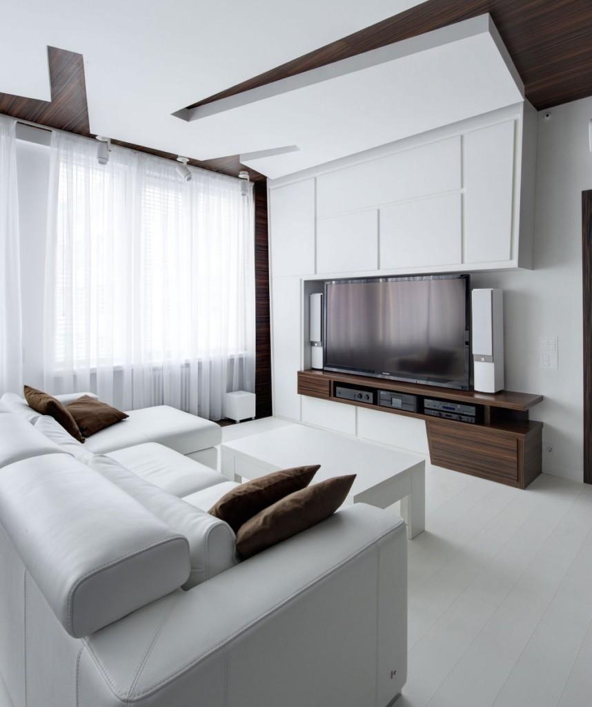 Многоуровневый потолок в гостиной стиля минимализм