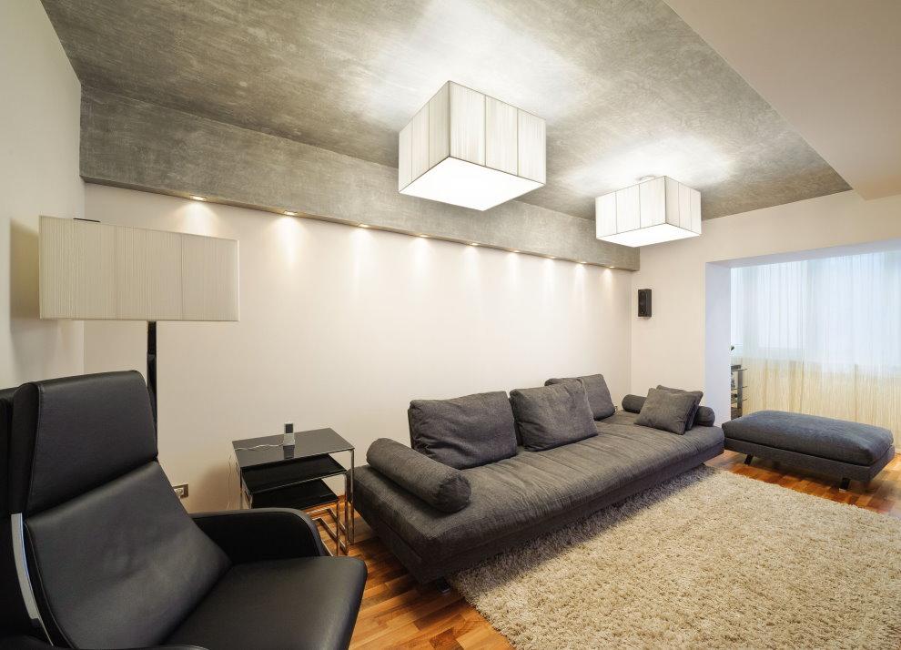 Серый потолок в гостиной площадью 25 кв м