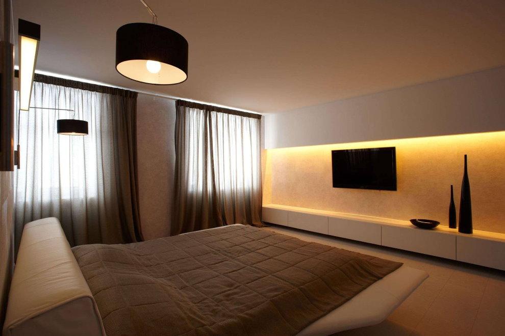 Простой интерьер спальни в стиле минимализма