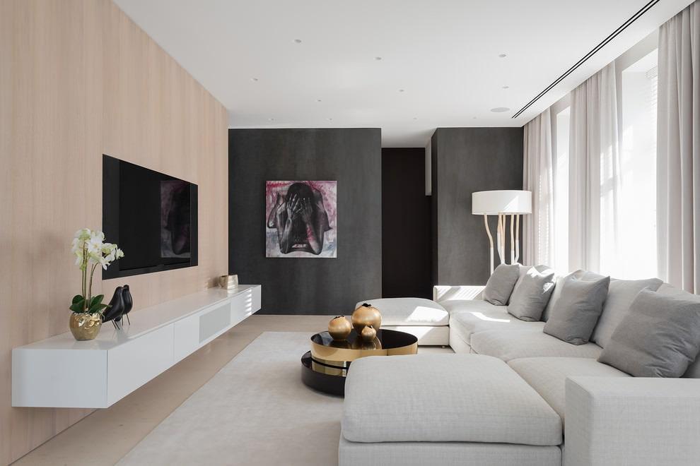 Серая стена в гостиной стиля минимализма
