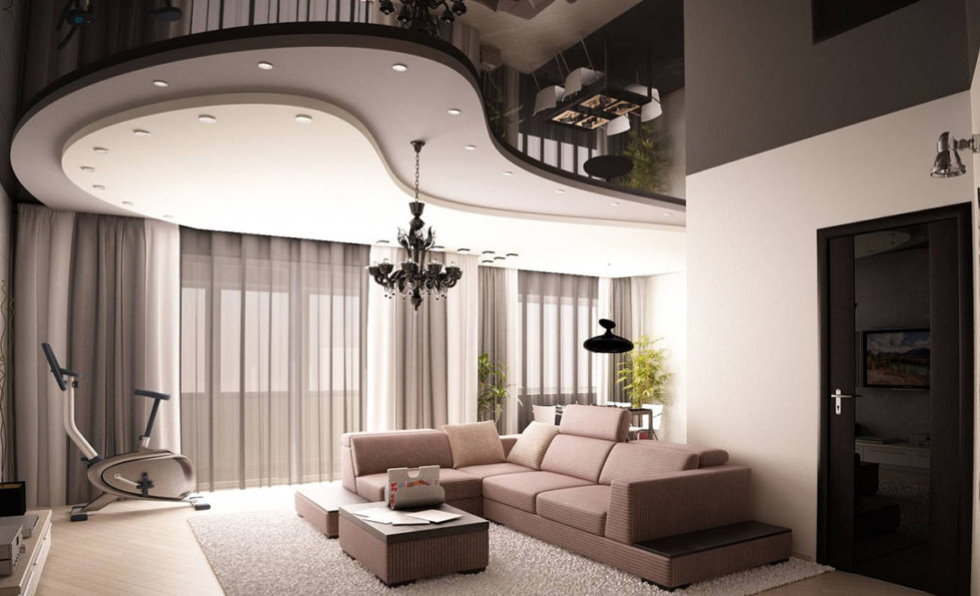 Комбинированный потолок с несколькими уровнями в гостиной