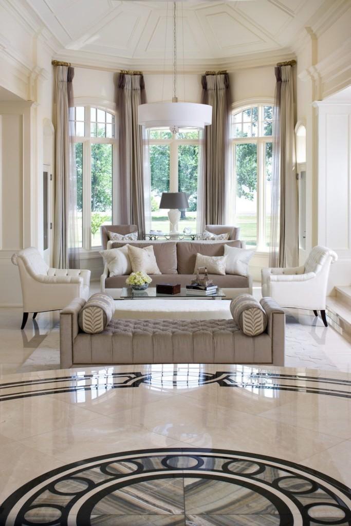 Интерьер светлой гостиной в стиле арт-деко