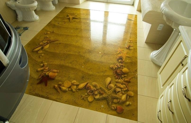 Наливной пол в ванной классического стиля