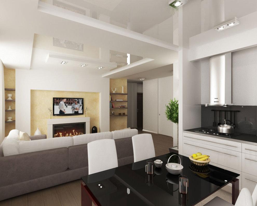 Кухня-гостиная с натяжным потолком