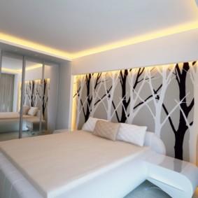 натяжные потолки в спальне идеи интерьер