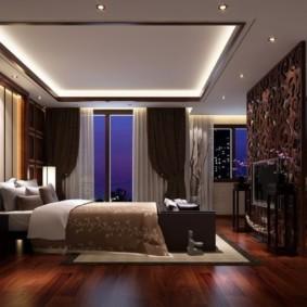 натяжные потолки в спальне идеи интерьера