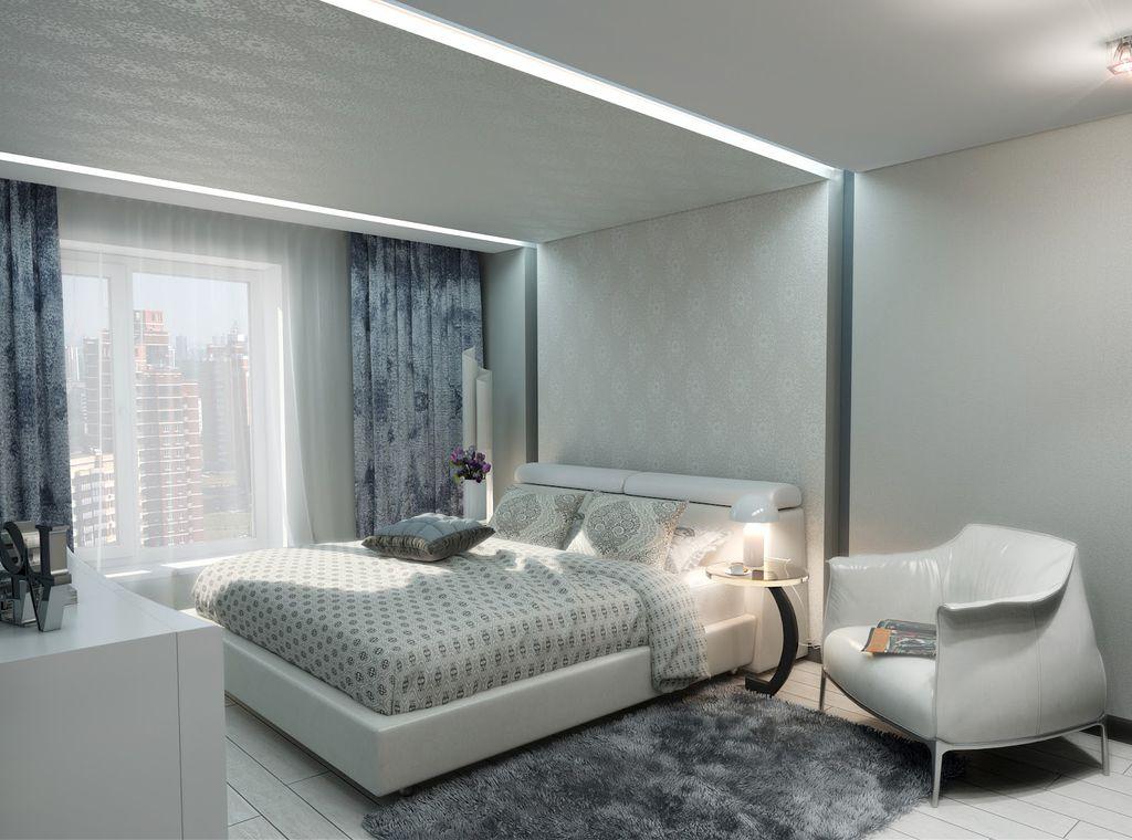 тканевые натяжные потолки в спальне