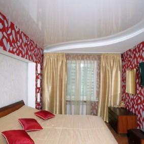 натяжные потолки в спальне идеи варианты