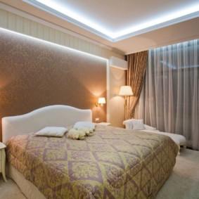 натяжные потолки в спальне идеи оформления