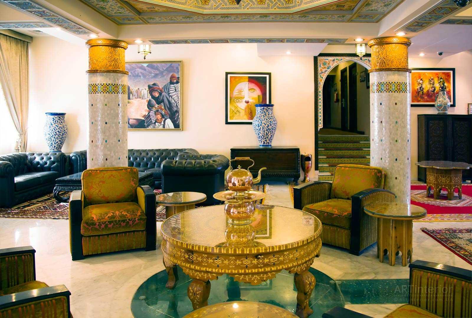дизайн интерьера зала в восточном стиле