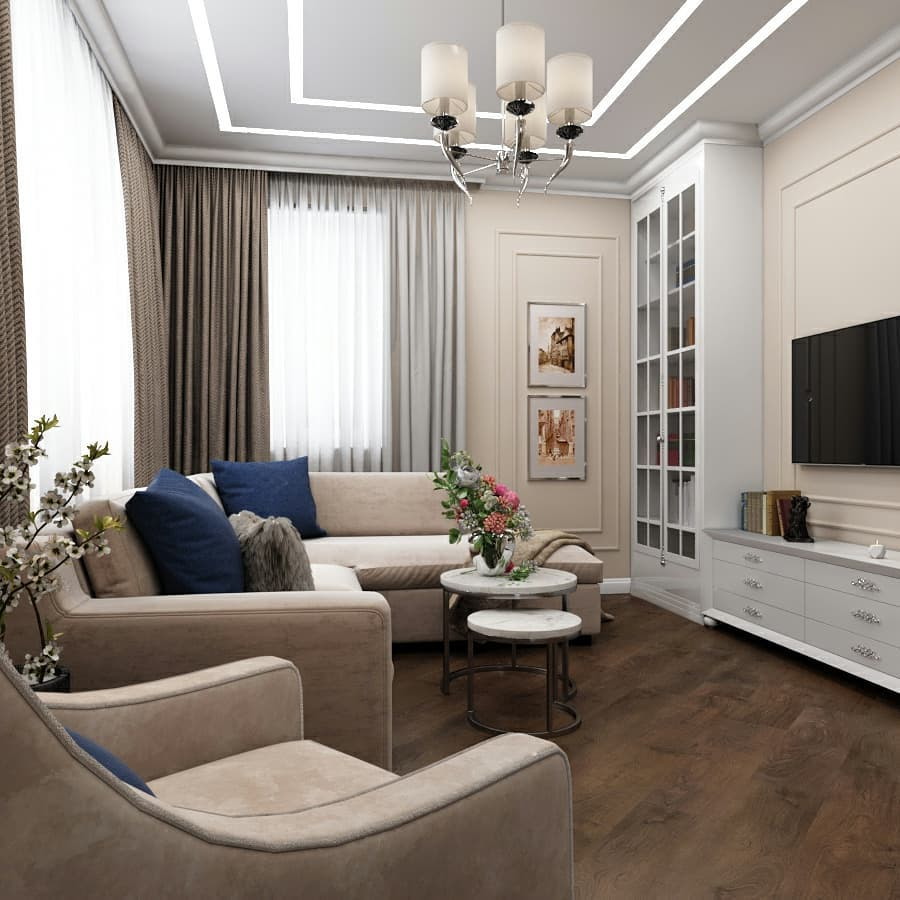 Компактная гостиная в стиле неоклассика