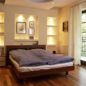 ниша из гипсокартона в спальне варианты
