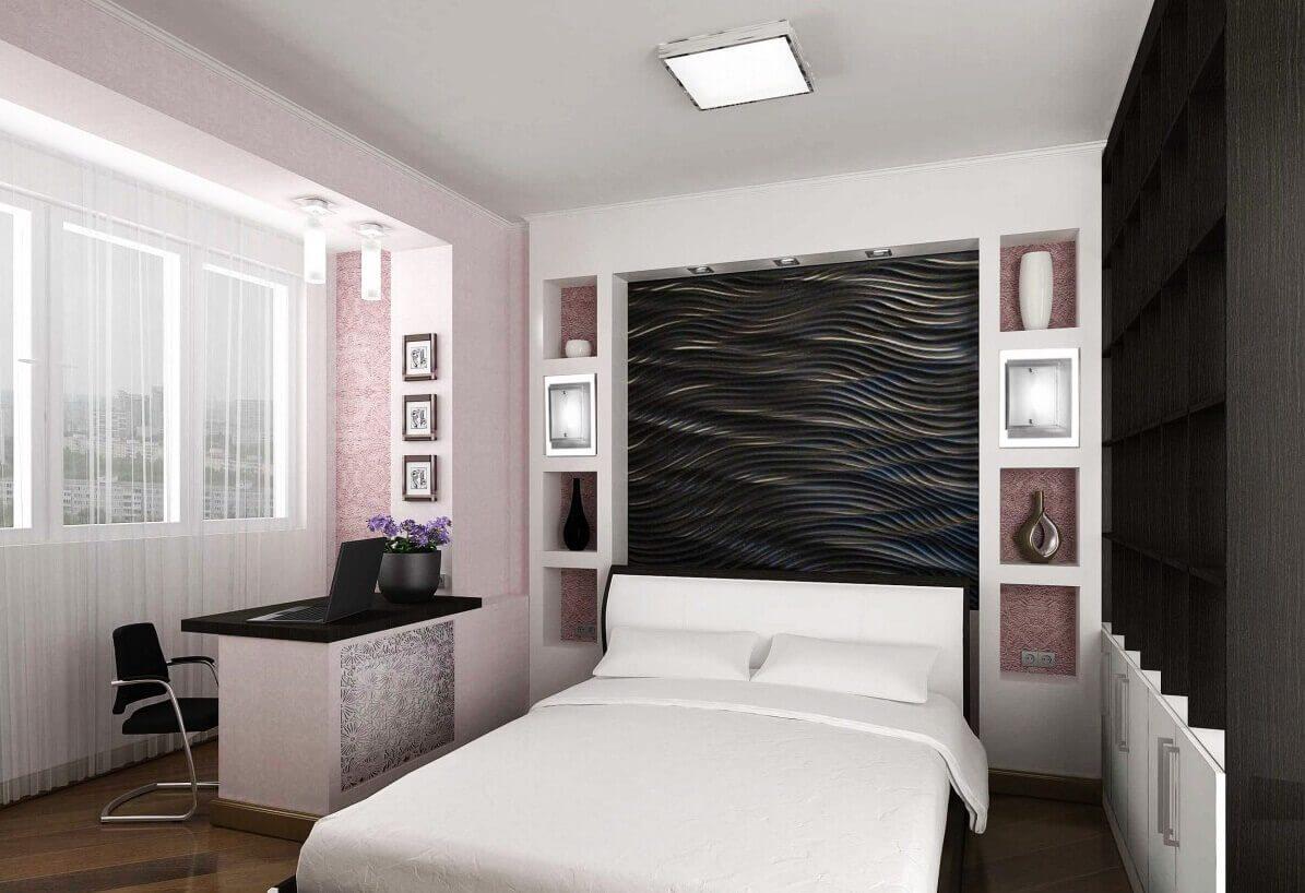 ниша из гипсокартона в спальне фото декора