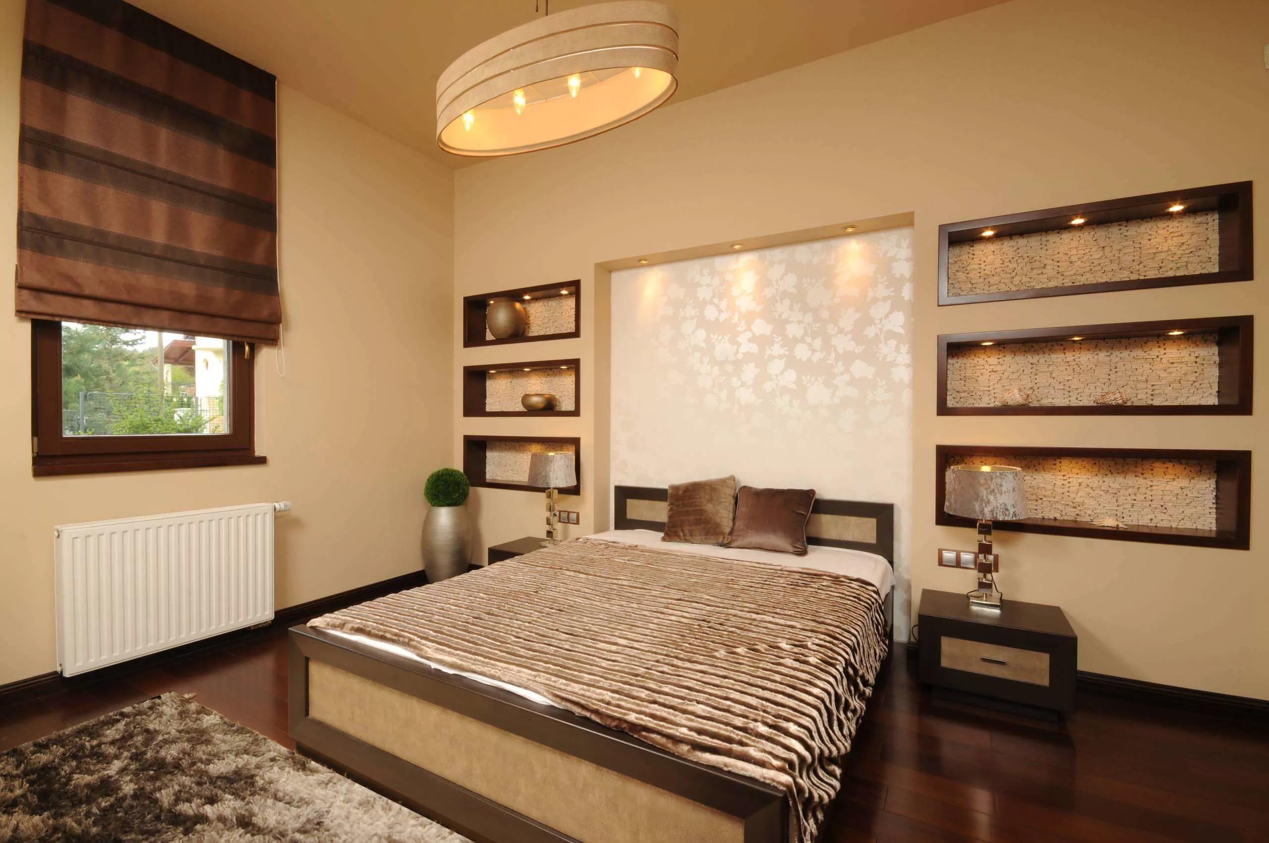 ниша из гипсокартона в спальне фото дизайна
