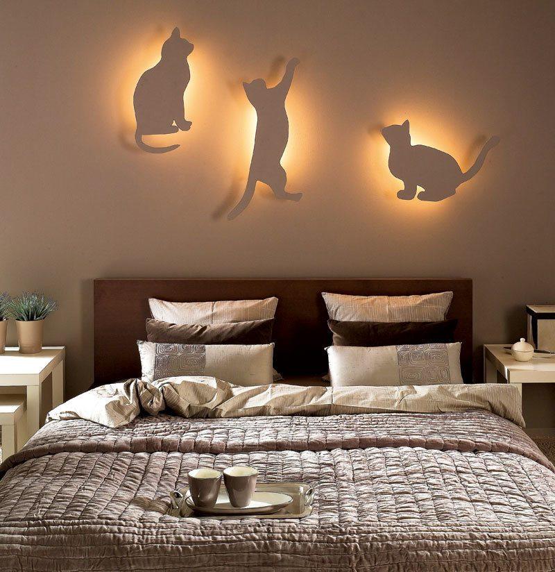Ночники-кошки для спальни современного стиля