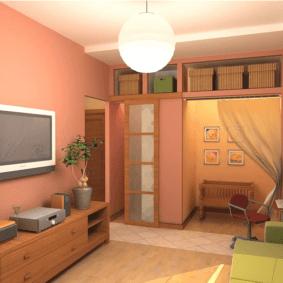 однокомнатная квартира для семьи с ребенком интерьер фото