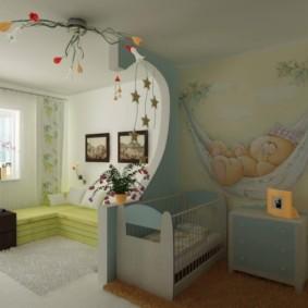 однокомнатная квартира для семьи с ребенком фото оформления