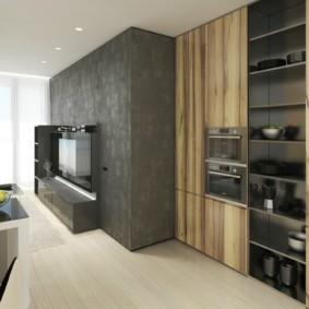 однокомнатная квартира в стиле минимализм гостиная