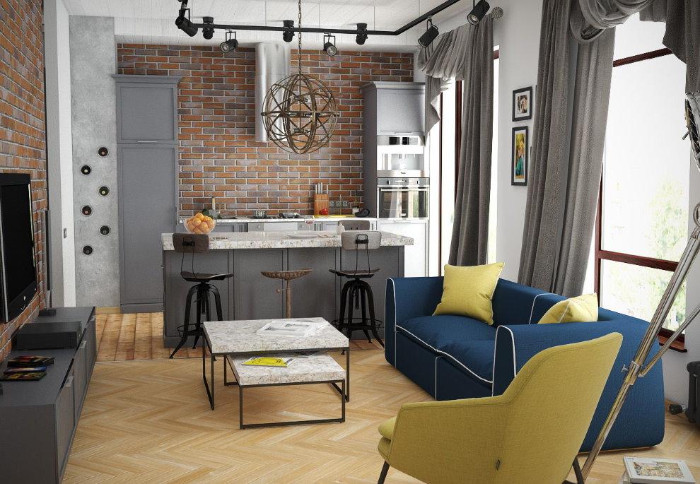 Серые шторы в квартире стиля лофт