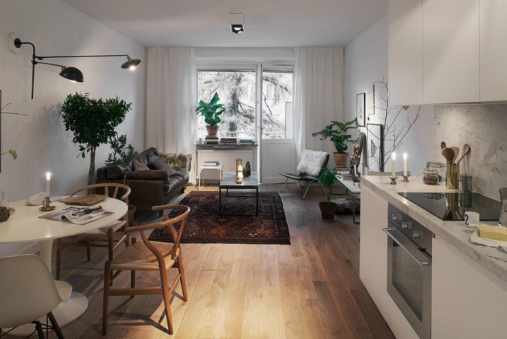 Зонирование комнаты в квартире студии скандинавского стиля