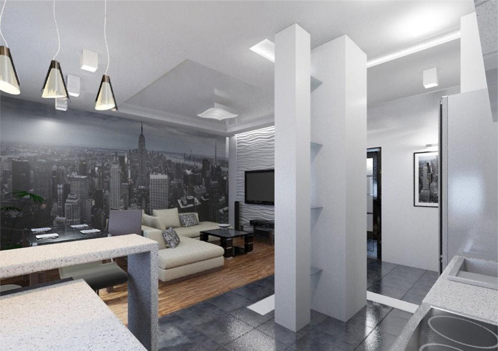 Фотообои в небольшой квартире стиля хай-тек
