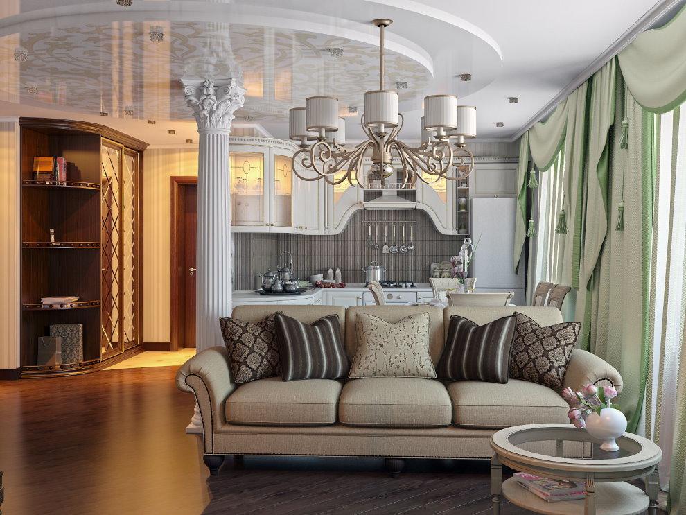 Диван с текстильной обивкой в квартире классического стиля