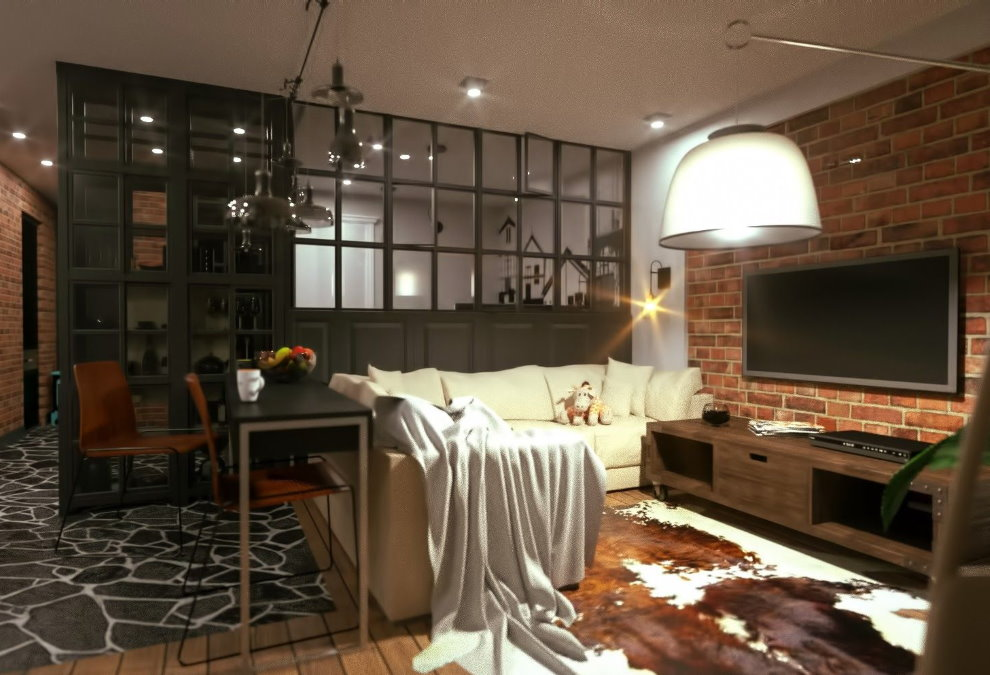 Зона отдыха в однокомнатной квартире лофт стиля