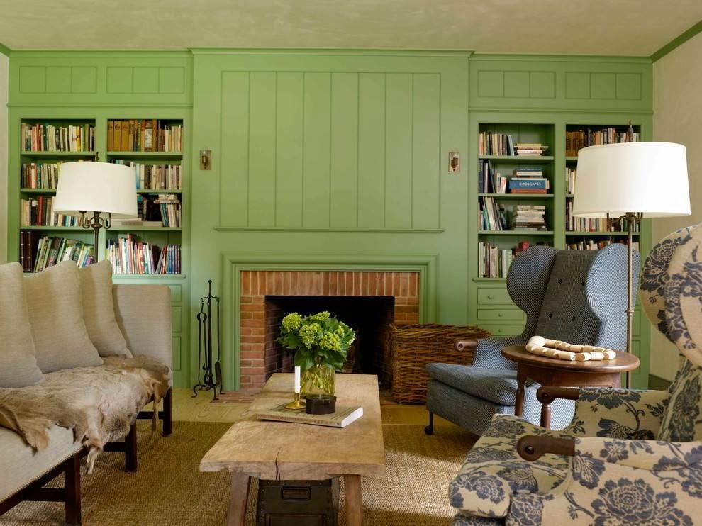 Интерьер гостиной с мебелью оливкового цвета