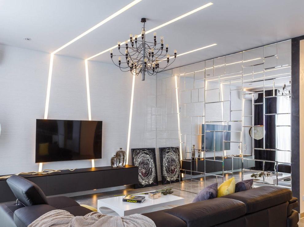 Линейные светильники на потолке с люстрой