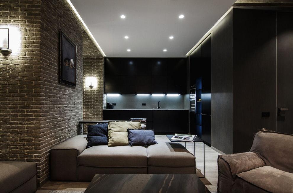 Свет в зале стиля лофт с натяжным потолком