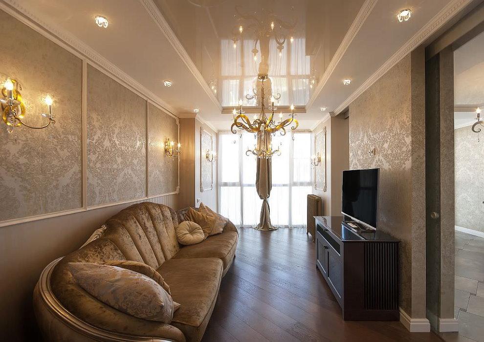 Расположение встроенных светильников на потолке с люстрой