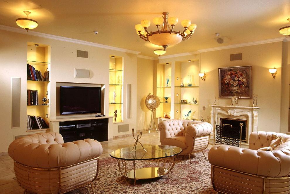 Организация искусственного освещения в гостиной