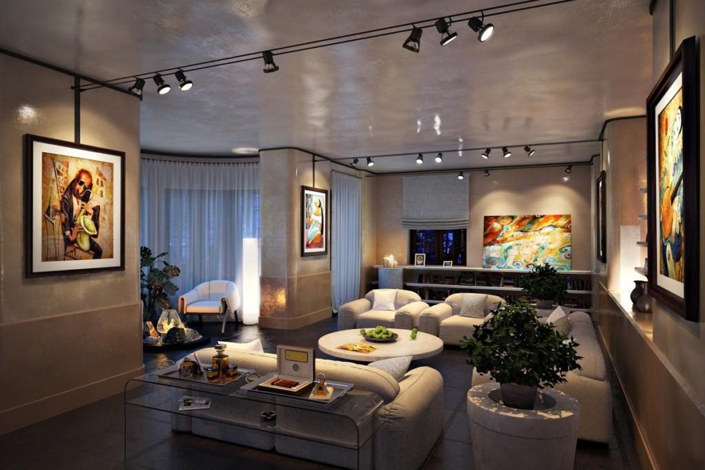 Освещение в квартире-студии современного стиля