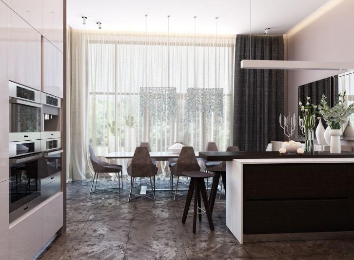 Декор большого окна в просторной кухне