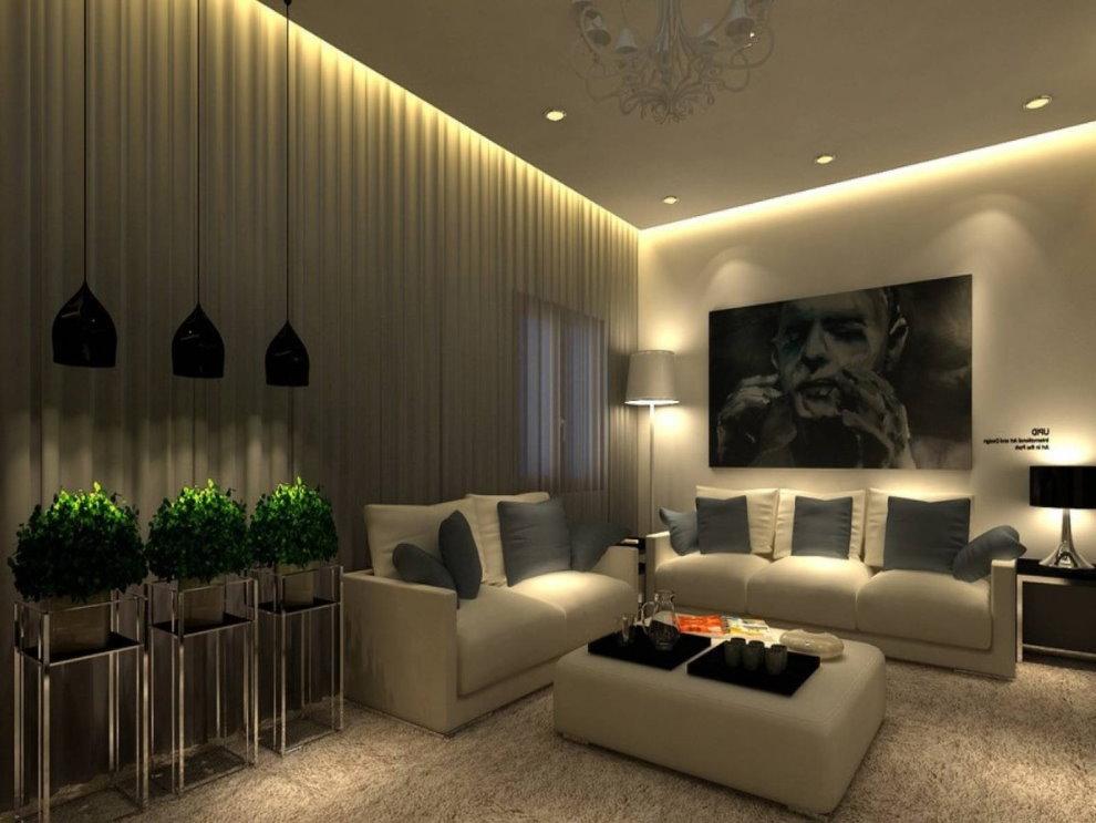 Креативная подсветка потолочного покрытия в зале